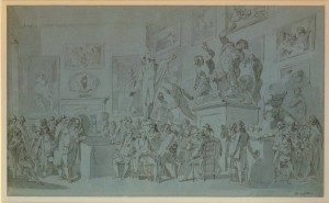 """The Royal Academicians assembled in their council chamber to adjudge the Medals to the successful students in Painting, Sculpture, Architecture and Drawing,"""" pen and brown ink, with grey wash, on blue paper, by the British artist Henry Singleton. Circa 1793."""